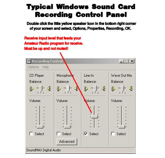 Sound Card Recording Control Panel